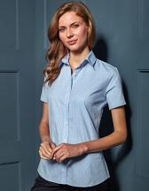 Ladies` Microcheck (Gingham) Short Sleeve Shirt Cotton